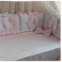 Бортики защита в детскую кроватку каретная стяжка
