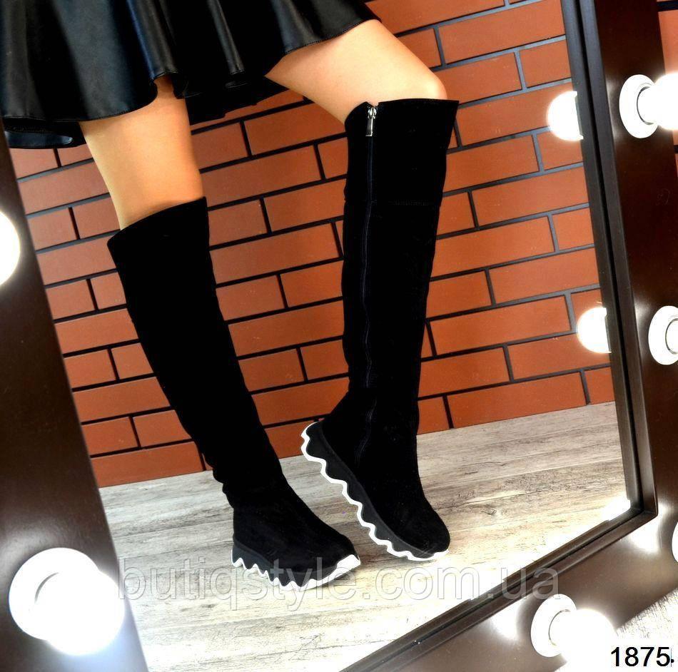 Черные женские ботфорты натур.замшна фигурной платформе зима