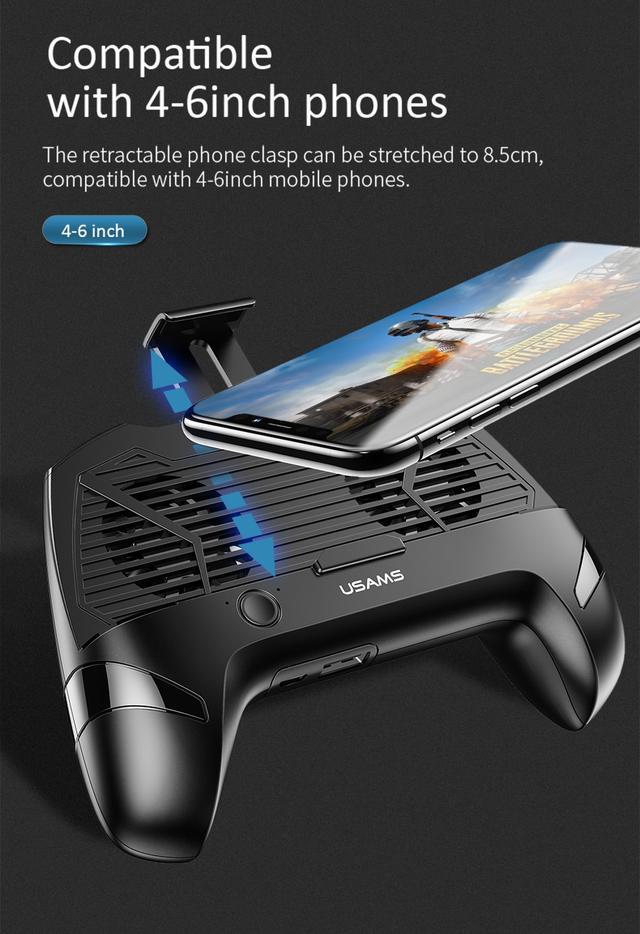 Геймпад Джойстик для смартфона USAMS US-ZJ037 Cooling Gamepad с функцией охлаждения и зарядки Черный