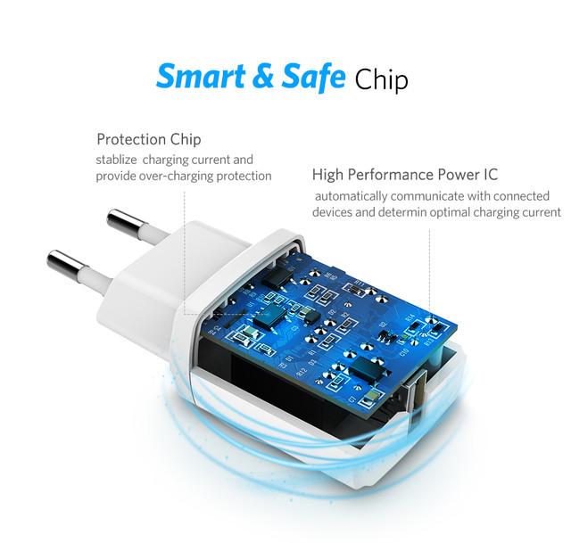 Мини универсальное сетевое зарядное устройство Ugreen 5В 2.1А USB Черное ED011 50459