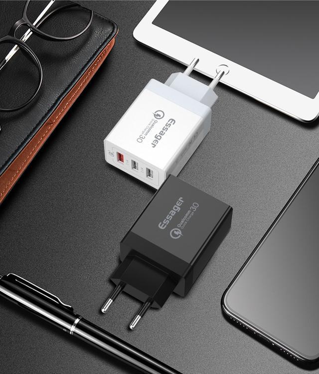Универсальное сетевое зарядное устройство Essager Quick Charge 3.0 Qualcomm ECCQC-LL01 Черное