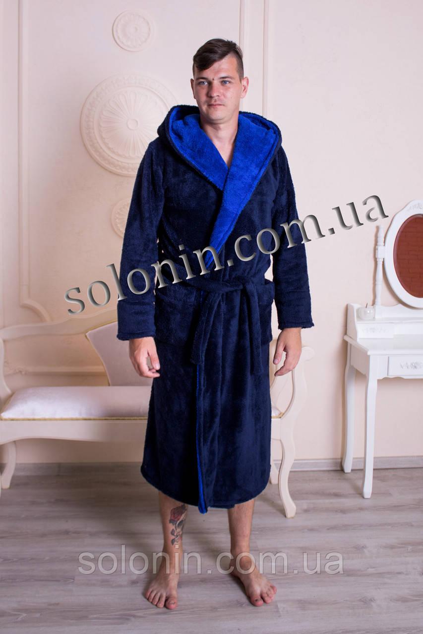 Мужской махровый халат с капюшоном.