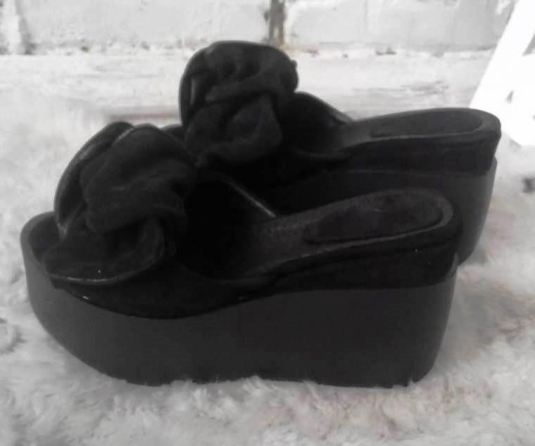 Сабо Star Банты! Босоножки женские черные кожаные шлепанцы на  платформе