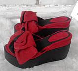Сабо Star Банты! Босоножки женские черные кожаные шлепанцы на  платформе, фото 7