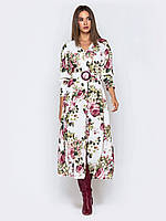 Стильное платье макси с крупным цветочным принтом 44 46 48
