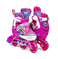 Детские 3-х колесные ролики . Розовые