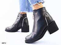 Ботинки из натуральной кожи женские черные на удобном каблуке, фото 1