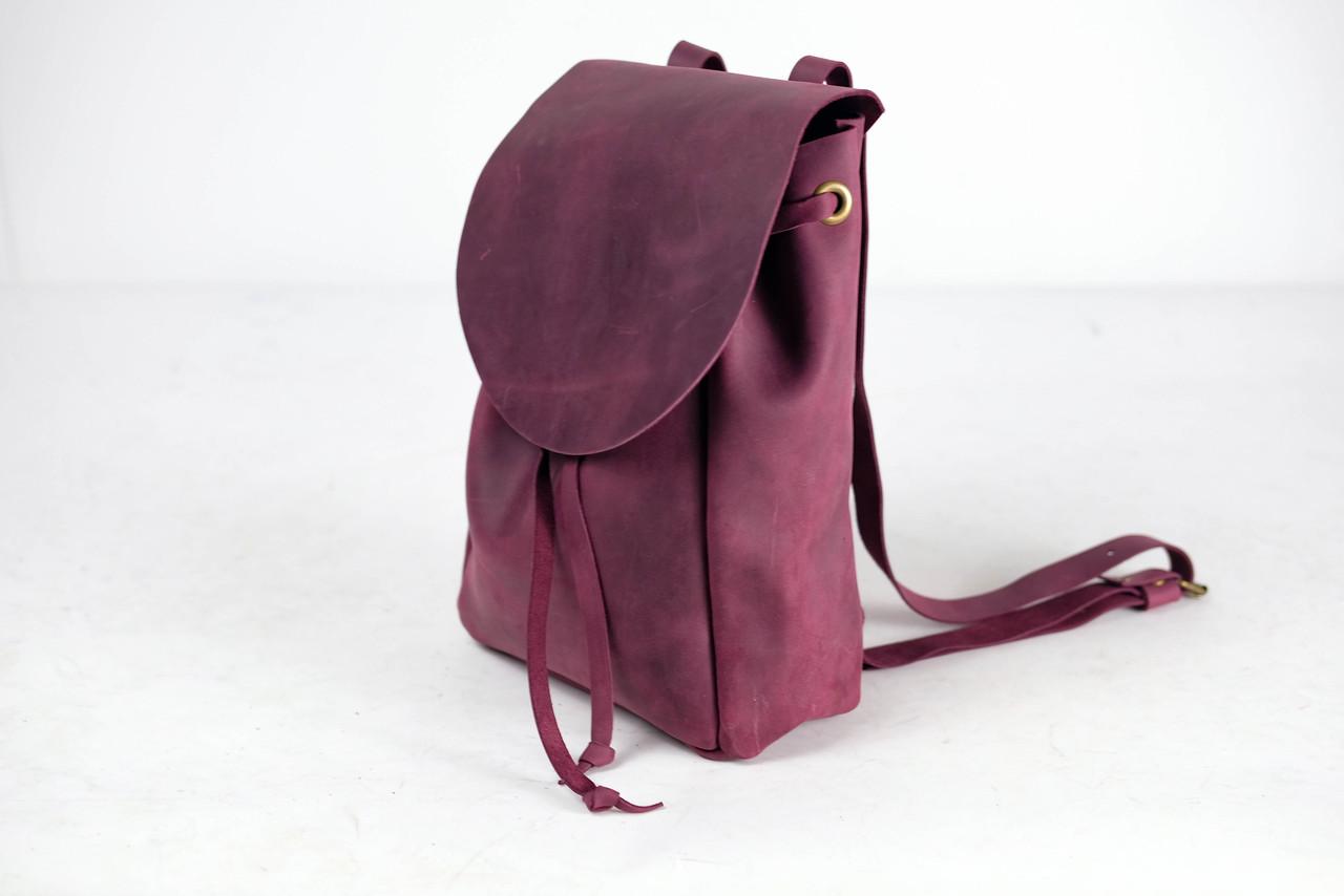 Рюкзак на затяжках с свободным клапаном Винтажная кожа цвет Бордо