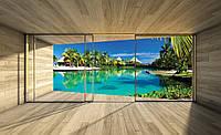 Фотообои 3D природа 368х280 см Вид с окна на пляж, море (3311.21388P10)