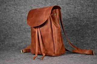 Кожаный рюкзак на затяжках с свободным клапаном Винтажная кожа цвет Коньяк, фото 2