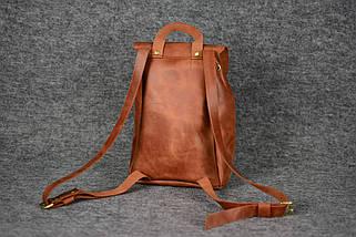 Кожаный рюкзак на затяжках с свободным клапаном Винтажная кожа цвет Коньяк, фото 3