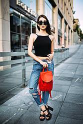 Рюкзак на затяжках с свободным клапаном Винтажная кожа цвет Красный