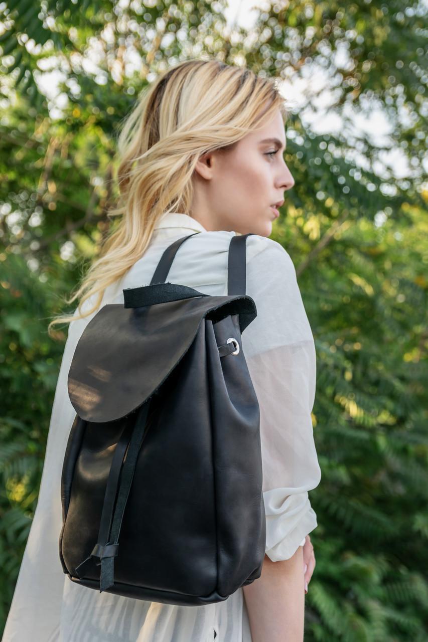Рюкзак на затяжках с свободным клапаном Винтажная кожа цвет Черный