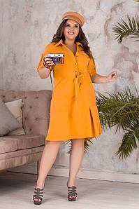 Красивое батальное платье-рубашка с кулиской на талии