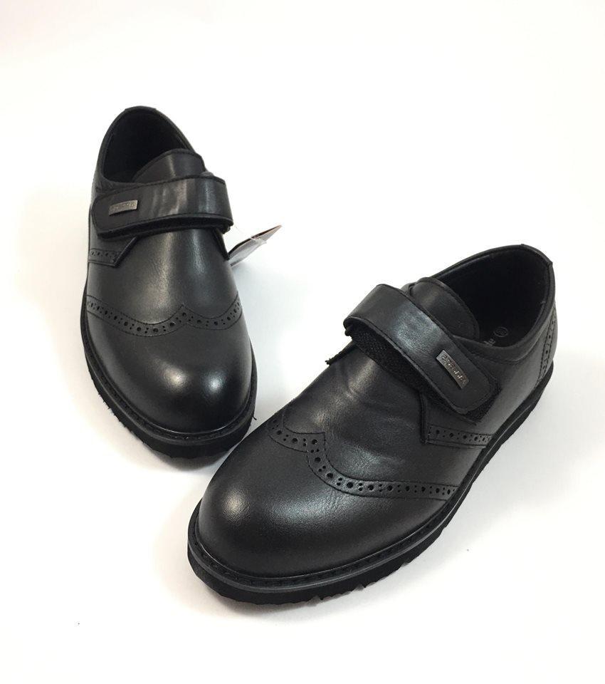 Стильные туфли для мальчика на липучке Apawwa Чарли, черный 386 (р.33,34,35,37)