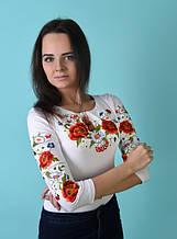 """Блузка с вышивкой вышиванка """"Квитана"""" для женщин и девочек-подростков белая"""