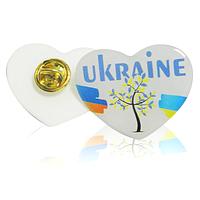 """Значок-линза полимерный """"Ukraine"""" в форме сердца"""