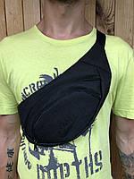 Поясная сумка черная в стиле Nike, 2 отделения (Бананка), из мессенджер pvc, банан, трендовая сумка, найк