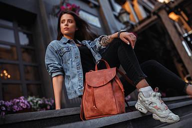 Жіночий шкіряний рюкзак Токіо, розмір середній, натуральна Вінтажна шкіра колір коричневый, оттенок Коньяк