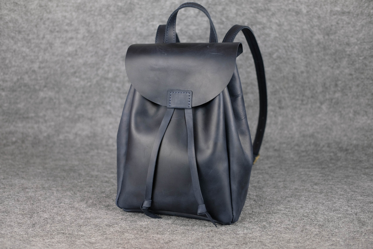 Рюкзак на затяжках с магнитом, размер средний Винтажная кожа цвет Синий
