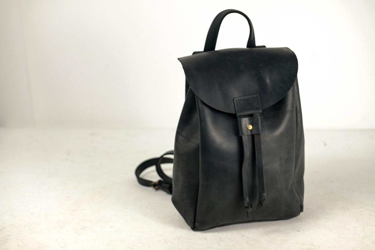 Рюкзак на затяжках с магнитом, размер средний Винтажная кожа цвет Черный