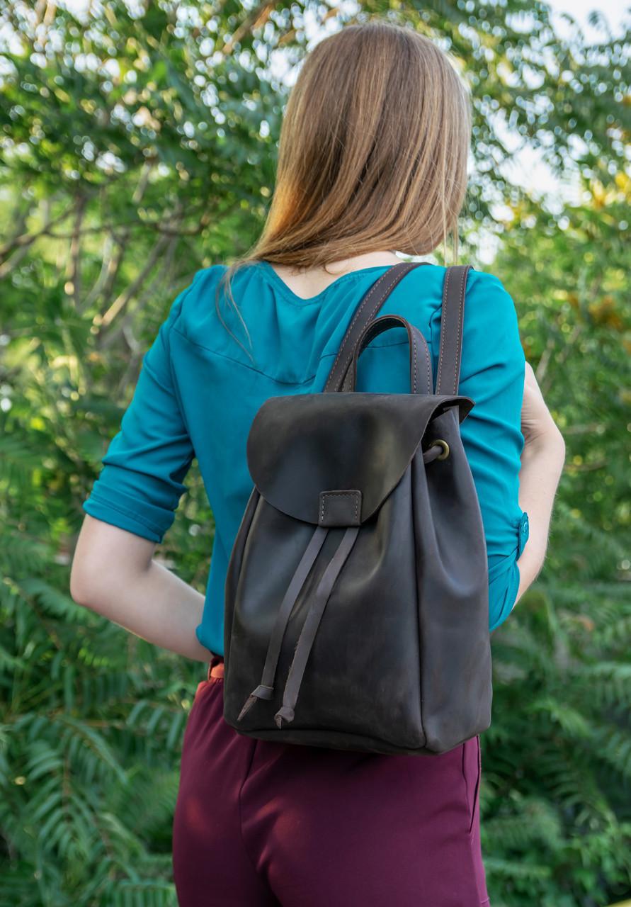 Кожаный рюкзак на затяжках с магнитом, размер средний Винтажная кожа цвет Шоколад