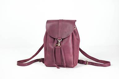 Жіночий шкіряний рюкзак Київ, розмір міні, натуральна Вінтажна шкіра колір Бордо