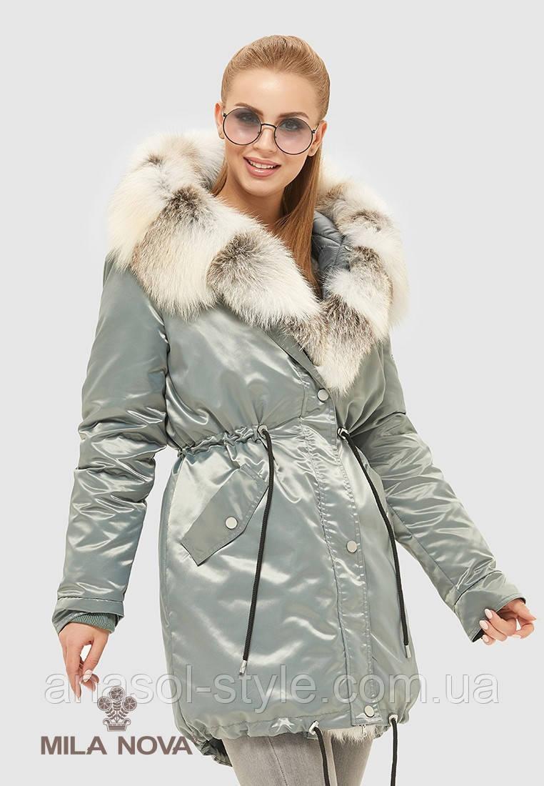 Парка женская зимняя натуральный мех чернобурки бірюза