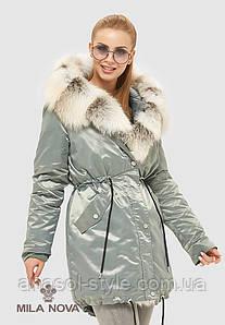 Парка женская зимняя  больших размеров натуральный мех чернобурки бірюза