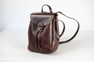 Кожаный рюкзак на затяжках с магнитом, размер средний Кожа Итальянский краст цвет Вишня