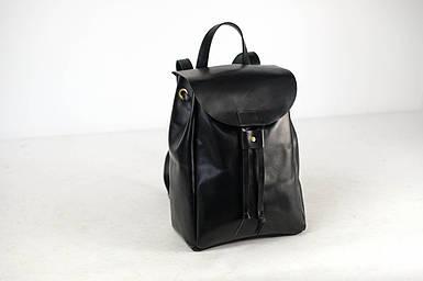 Кожаный рюкзак на затяжках с магнитом, размер средний Кожа Итальянский краст цвет Черный