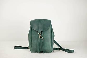 Рюкзак на затяжках с карабином, размер мини Винтажная кожа цвет Зеленый
