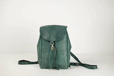 Жіночий шкіряний рюкзак Київ, розмір міні, натуральна Вінтажна шкіра колір Зеленый
