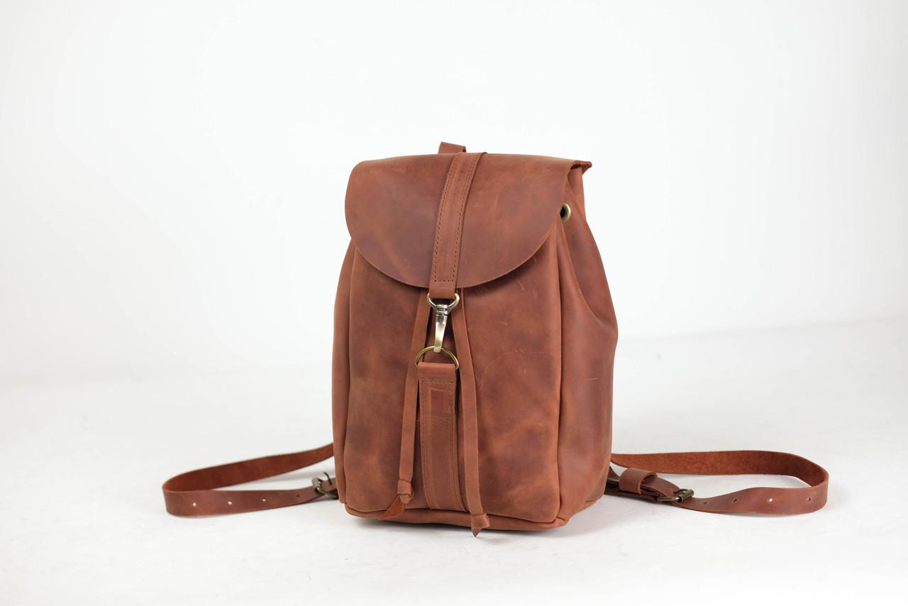 Рюкзак на затяжках с карабином, размер мини Винтажная кожа цвет Коньяк