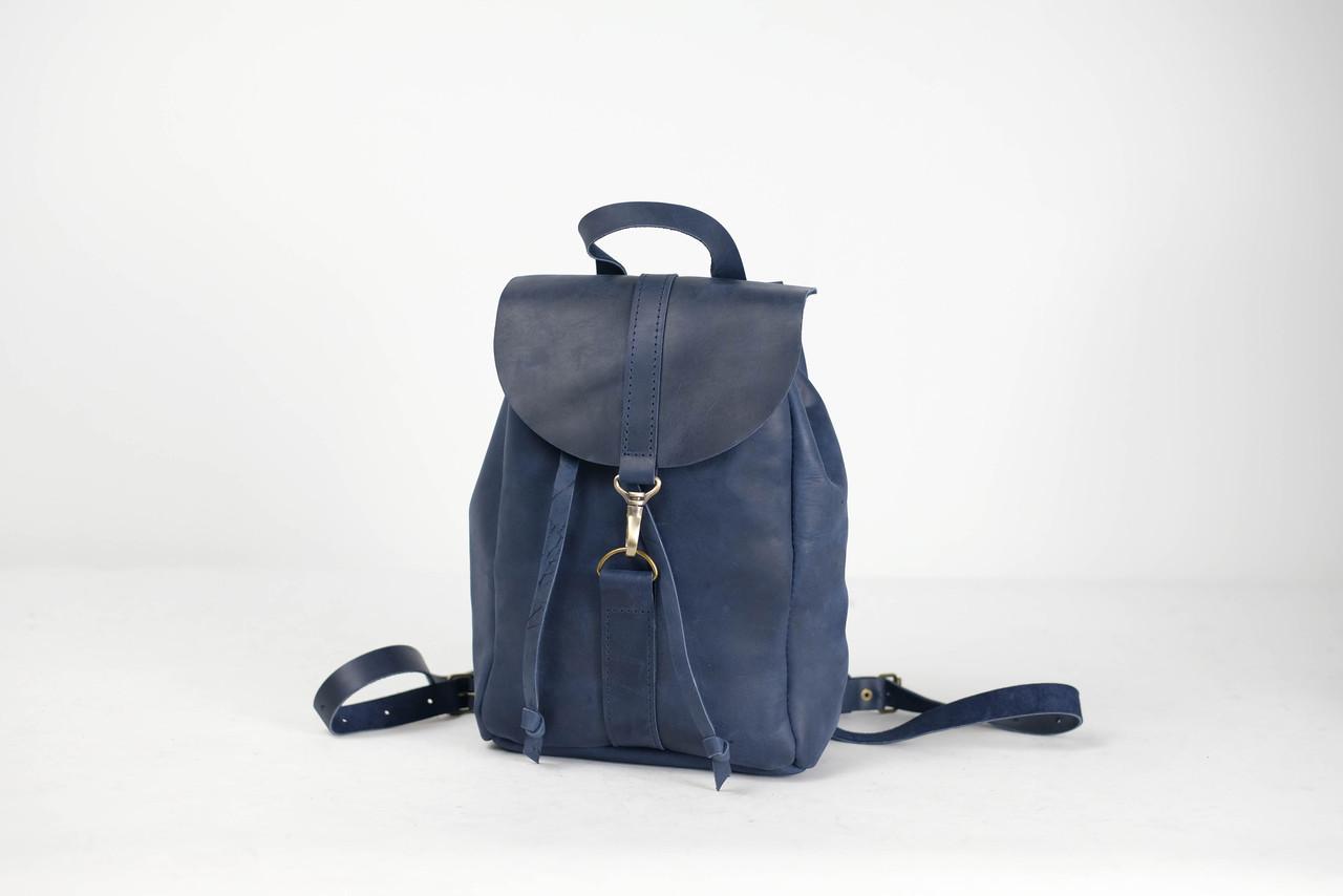 Рюкзак на затяжках с карабином, размер мини Винтажная кожа цвет Синий