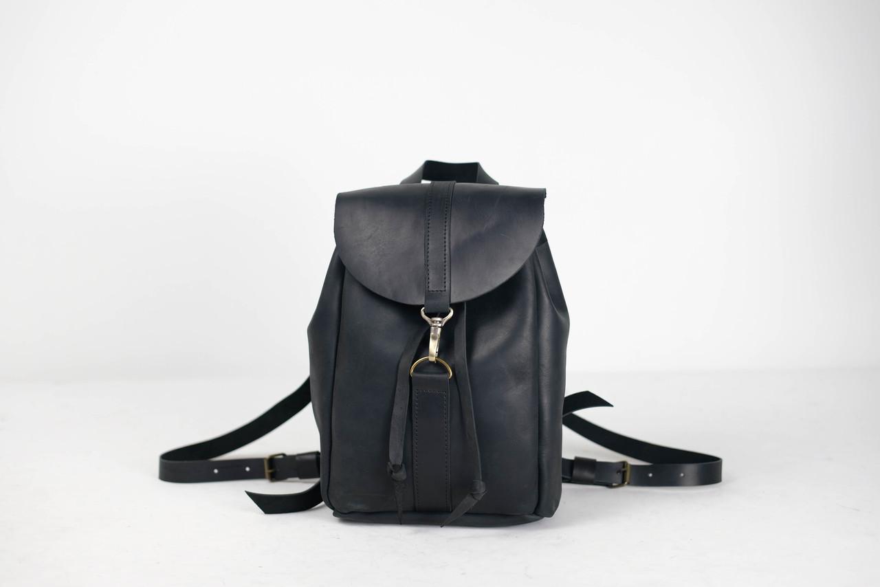 Рюкзак на затяжках с карабином, размер мини Винтажная кожа цвет Черный