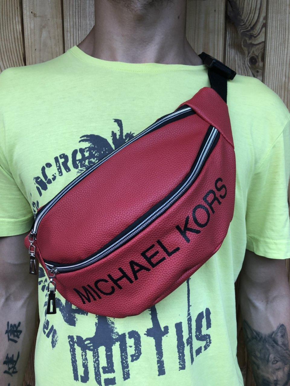 Поясная сумка красная , 2 отделения (Бананка), из пресс кожи, банан, трендовая сумка