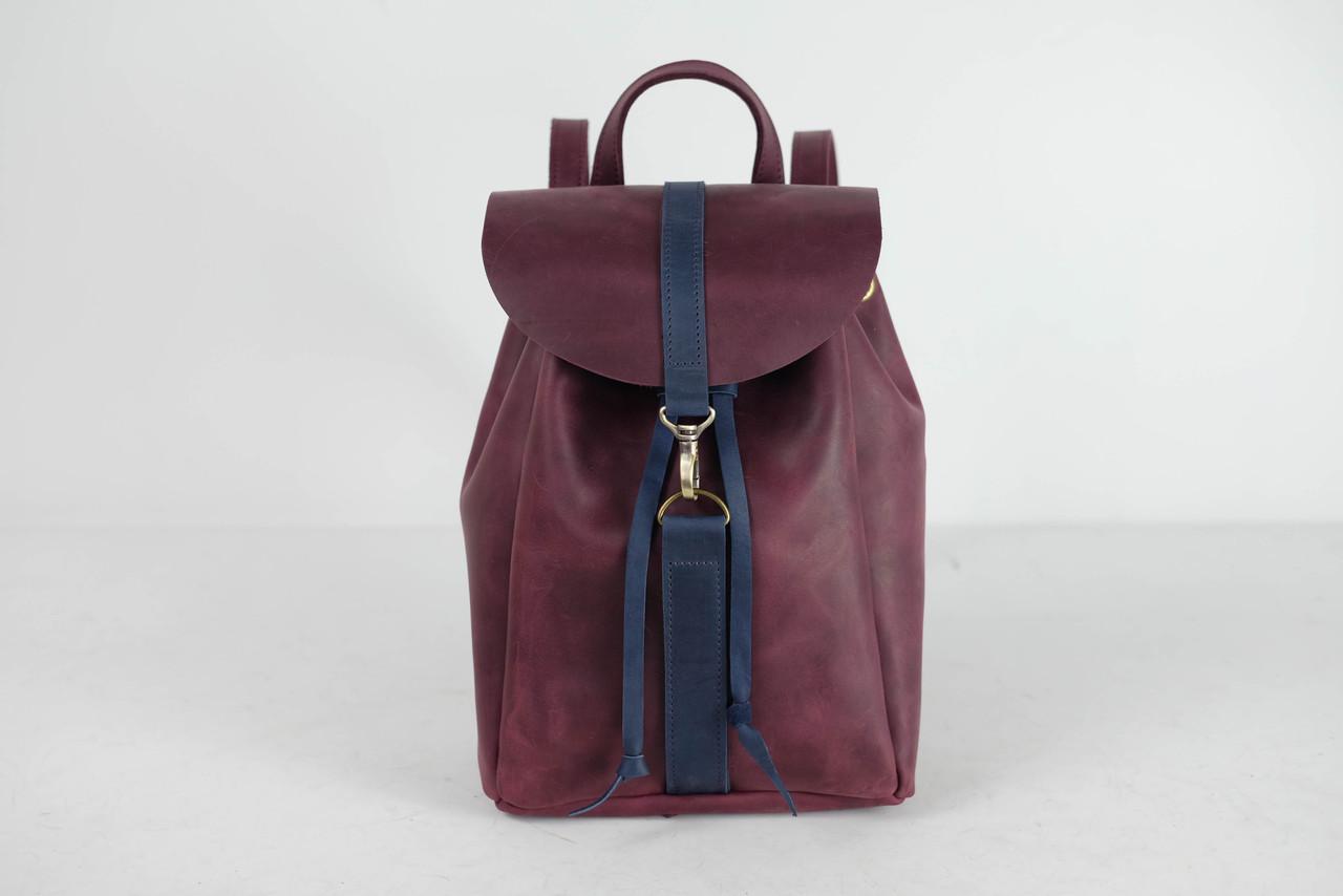 Рюкзак на затяжках с карабином, размер средний Винтажная кожа цвет Бордо + Синий
