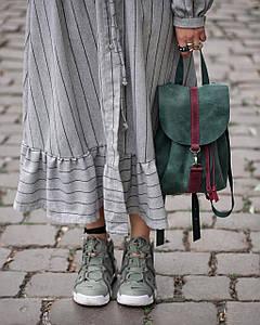 Жіночий шкіряний рюкзак Київ, розмір міні, натуральна Вінтажна шкіра колір Зелений + Бордо