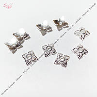 Шапочки для бусин листочки 6 мм для рукоделия цвет серебро