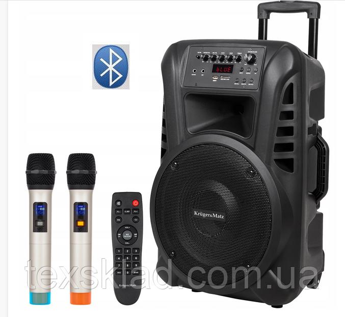 """Портативная колонка Kruger&Matz 12""""  с микрофонами 120W (USB/Bluetooth/FM)"""
