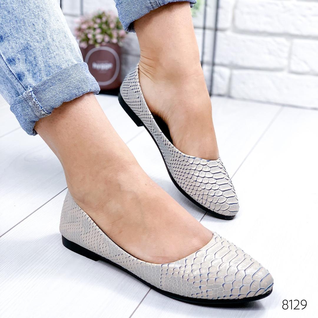 Женские стильные туфли балетки на низком ходу под рептилию бежевые