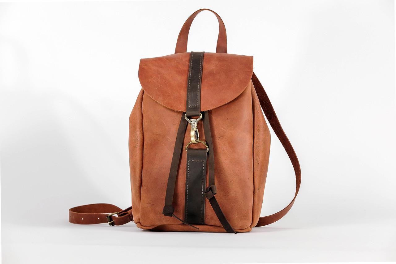 Рюкзак на затяжках с карабином, размер мини Винтажная кожа цвет Коньяк + Шоколад