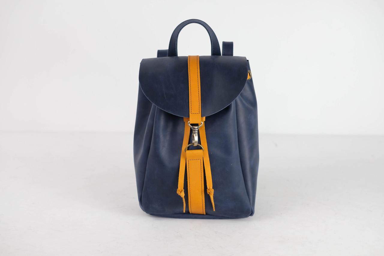 Кожаный рюкзак на затяжках с карабином, размер средний Винтажная кожа цвет Синий + Янтарь