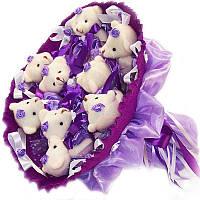 Букет из мягких игрушек 9 мишек белых в фиолетовом