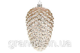 Елочные стеклянные шишки, ёлочная игрушка, елочные украшение Шишка 23 см, цвет - шампань (4 шт)