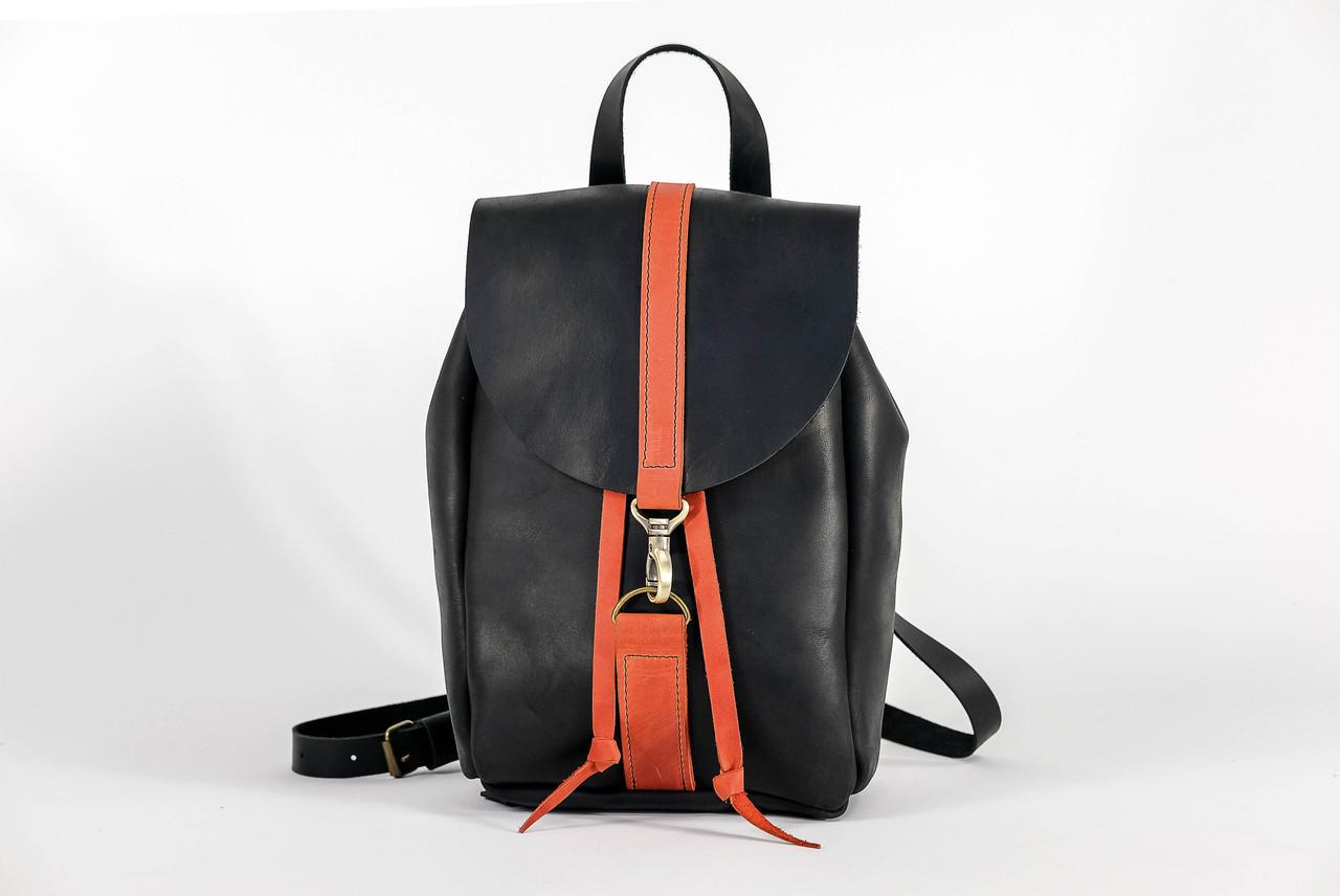 Рюкзак на затяжках с карабином, размер мини Винтажная кожа цвет Черный + Красный