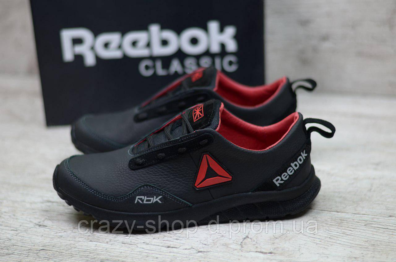 Мужские кожаные кроссовки Reebok (Реплика) (Код: R-2 ч/к  ) ►Размеры [40,41,42,43,44,45]
