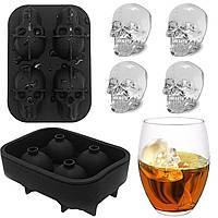 ➚Силиконовая форма для льда CUMENSS Череп Black кубики льда для охлаждения напитков