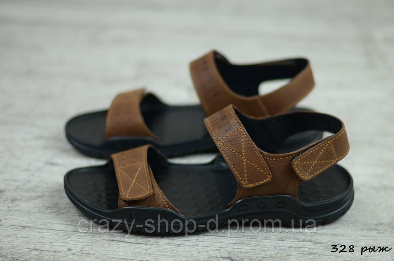 Мужские кожаные сандалии Cardio (Код: 328 рыж) ► [40]